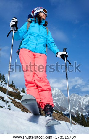 Ski, Skier, Freeride in fresh powder snow - woman skiing