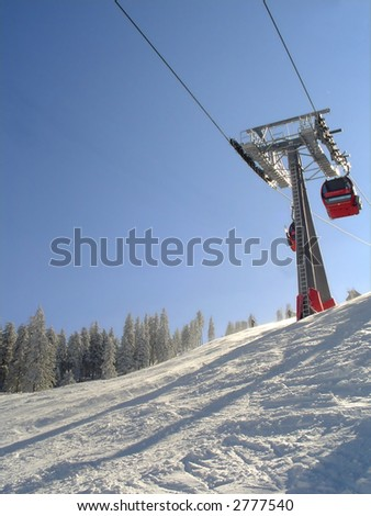 Ski slope and cable car