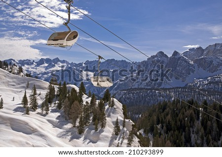 Ski slope and cable car in Dolomites, Italy - Cortina D'Ampezzo - Rio Gere