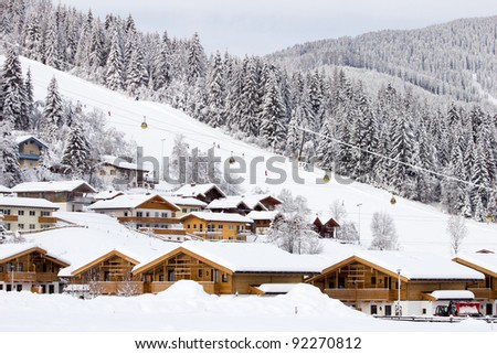 Ski slope at Flachau. A ski resort in the Austrian Alps. - stock photo