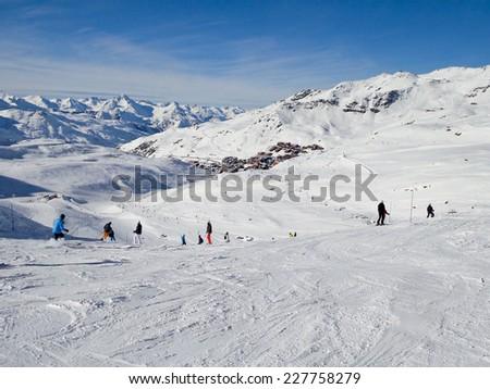 Ski slope at Les Menuires, 3 Valleys ski resort in the Alps, France - stock photo