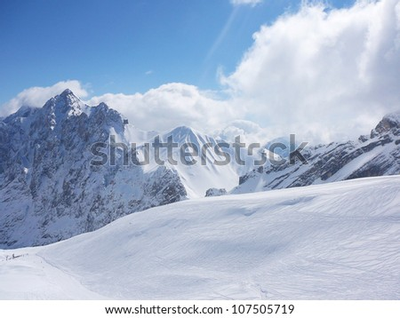 Ski slope in Alps - stock photo
