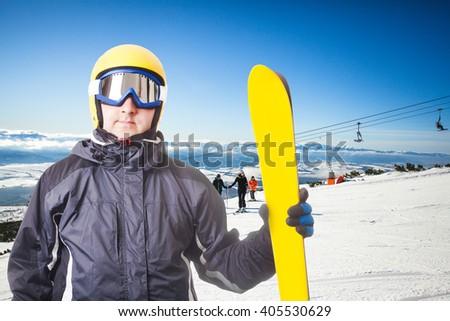Ski slope in High Tatras mountains. Frosty sunny day - stock photo
