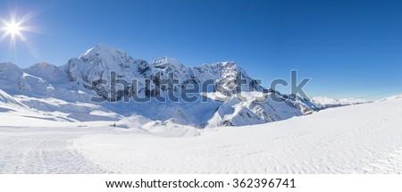 Ski-slope in the italian alps (Sulden/Solda) with Ortler in background - stock photo