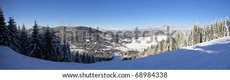Ski slope panorama from the Carpathian Mountains - stock photo