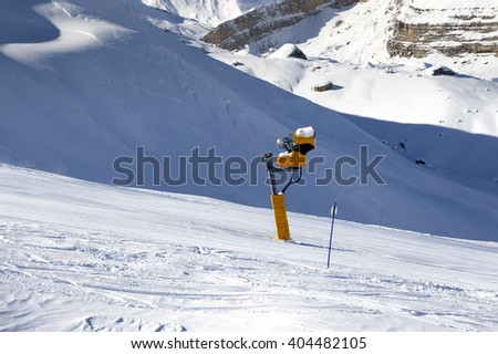 Ski slope with snowmaking. Greater Caucasus, Mount Shahdagh. Qusar rayon of Azerbaijan.