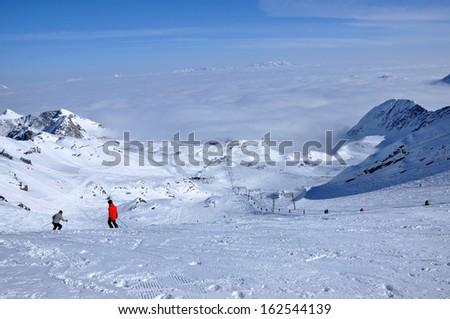Ski slopes in the Alps. Kitzsteinhorn, Austria - stock photo