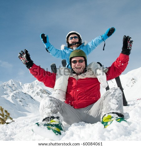 Ski, snow and fun - stock photo