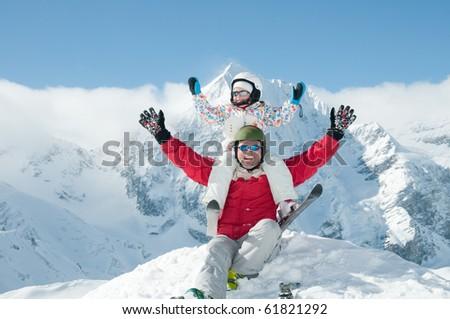 Ski, snow, sun and fun - stock photo