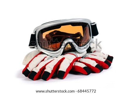 ski snowboard goggles with gloves isolated on white background - stock photo