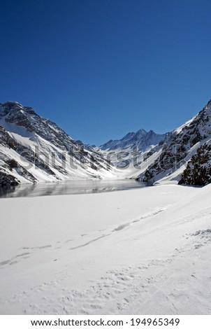 Ski Station and Hotel view near city of Santiago, Chile. - stock photo