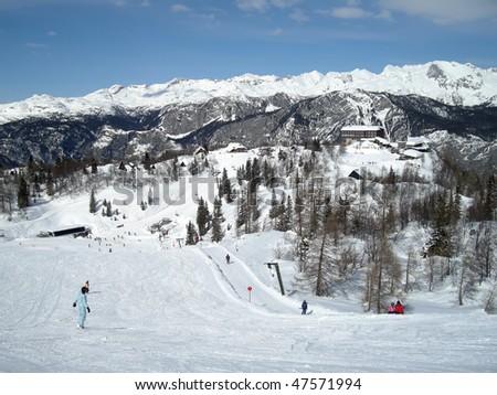 ski tow and ski slope on mountain in Slovenia - stock photo