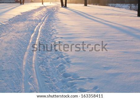 ski track in a park in the morning  - stock photo