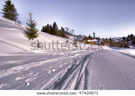 Ski track on a skiing resort - stock photo