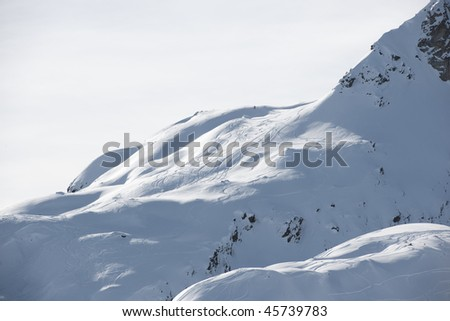 Ski tracks in the fresh snow, Areches, Savoie, Beaufortain France