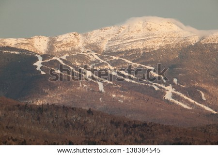Ski trails at Mt. Mansfield, Stowe Mountain Resort, Stowe, Vermont - stock photo