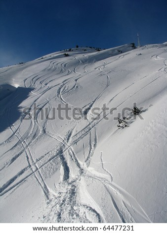 ski treks on piste - stock photo