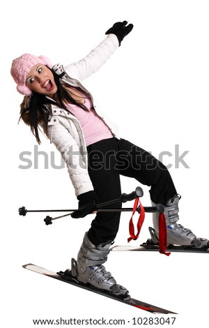 Ski Trip.  Female skier having fun on skis - stock photo