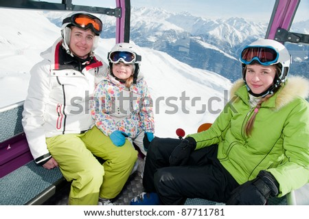 Ski vacation - female skiers in cable car
