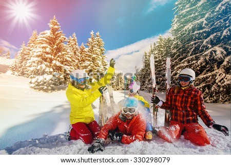 Ski, winter, snow - family enjoying winter vacation - stock photo