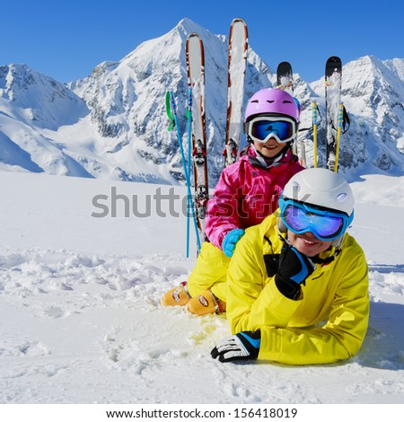 Skiing winter snow sun fun family stock photo 524176501 for Best family winter vacations