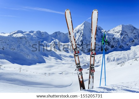 Ski, winter sport,  winter mountains - ski run in Italian Alps - stock photo