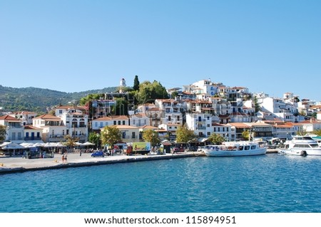 SKIATHOS, GREECE - SEPTEMBER 21: The harbour at Skiathos Town on September 21, 2012 on Skiathos island, Greece. The harbour was one of the locations for the 2008 film Mamma Mia.