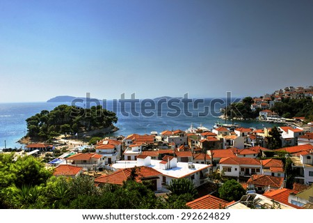 Skiathos Island is located in the northern part of Sporades islands group. The main towns are the Town of Skiathos (pop. 4,988 in 2001). - stock photo