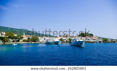 Skiathos Town In Skiathos Island, Greece. It is located in the northern part of Sporades islands group. The main towns are the Town of Skiathos it is located to the northeast next to a lagoon. - stock photo