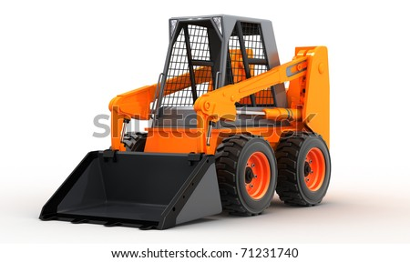 skid steer loader isolated on white background, 3d - stock photo