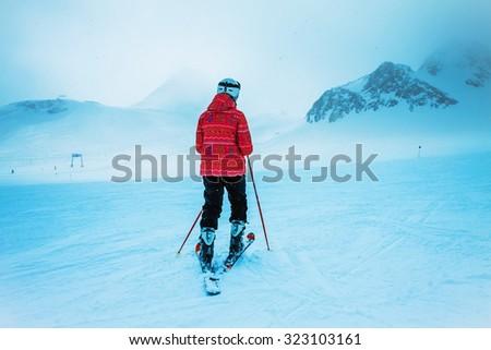 skier,  extreme winter sport - stock photo