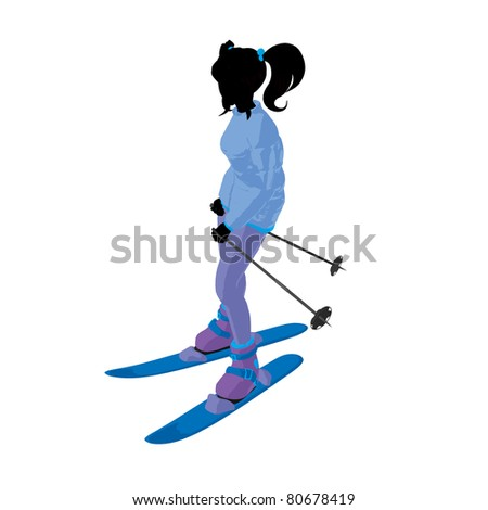 Skier girl on a white background