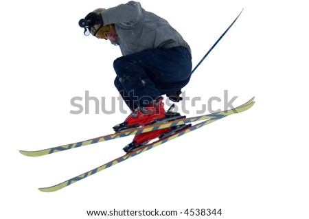 skier isolated - stock photo