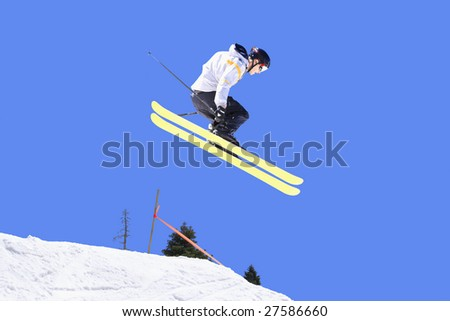 Skier making a huge jump - stock photo