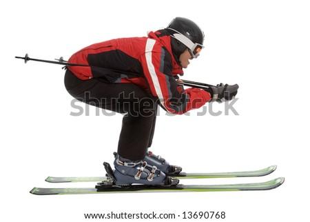 Skier man in aerodynamic pose isolated on white - stock photo