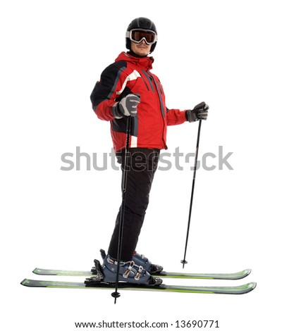 Skier man isolated - stock photo