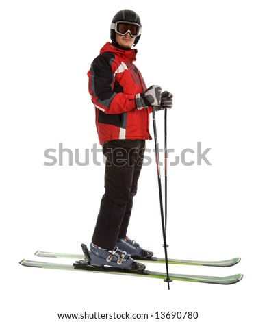 Skier man isolated on white background
