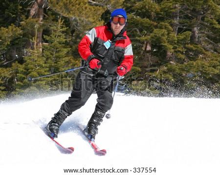 skier on a slope at lake tahoe, california - stock photo