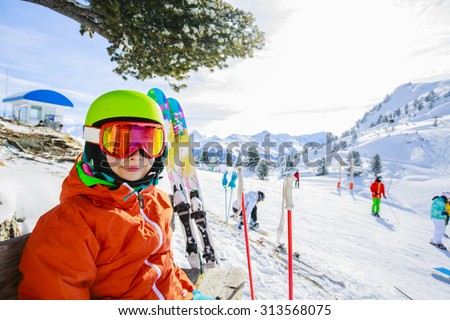 Skier on ski run, 4 Valley Swiss Alps - stock photo