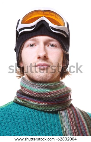 Skier portrait isolated on white
