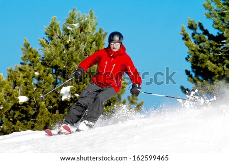 Skier rides back country between fir trees - stock photo