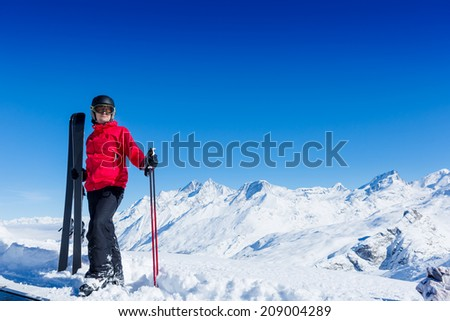 Skier, skiing, winter sport - portrait of male skier  - stock photo