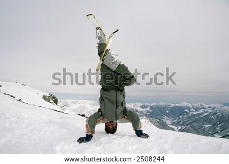 skier upside down - stock photo