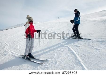 Skiers - stock photo