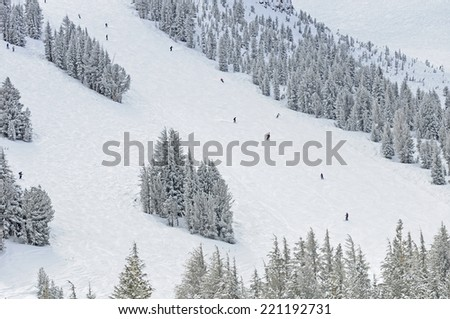 Skiers and Snowboarders on ski resort slopes - stock photo