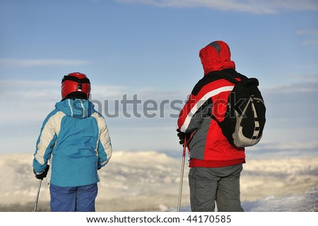 skiers group of+have fun and relaxation on winter mountain - stock photo