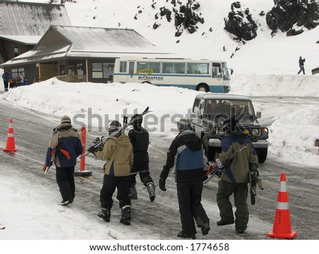 Skiers heading for the slopes