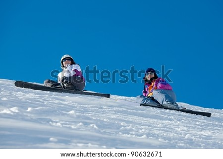 Skiers resting on the slope
