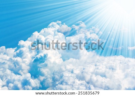 Skies and clouds airplane view - stock photo