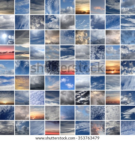 skies & clouds, 81 pictures - stock photo